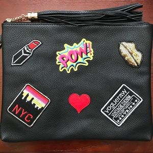 Charming Charlie Black Large Wristlet with Patches